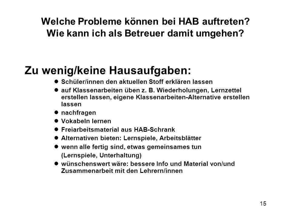 15 Welche Probleme können bei HAB auftreten? Wie kann ich als Betreuer damit umgehen? Zu wenig/keine Hausaufgaben: Schüler/innen den aktuellen Stoff e