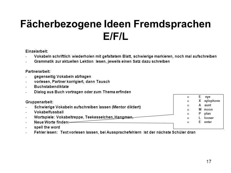 17 Fächerbezogene Ideen Fremdsprachen E/F/L Einzelarbeit: - Vokabeln schriftlich wiederholen mit gefaltetem Blatt, schwierige markieren, noch mal aufs