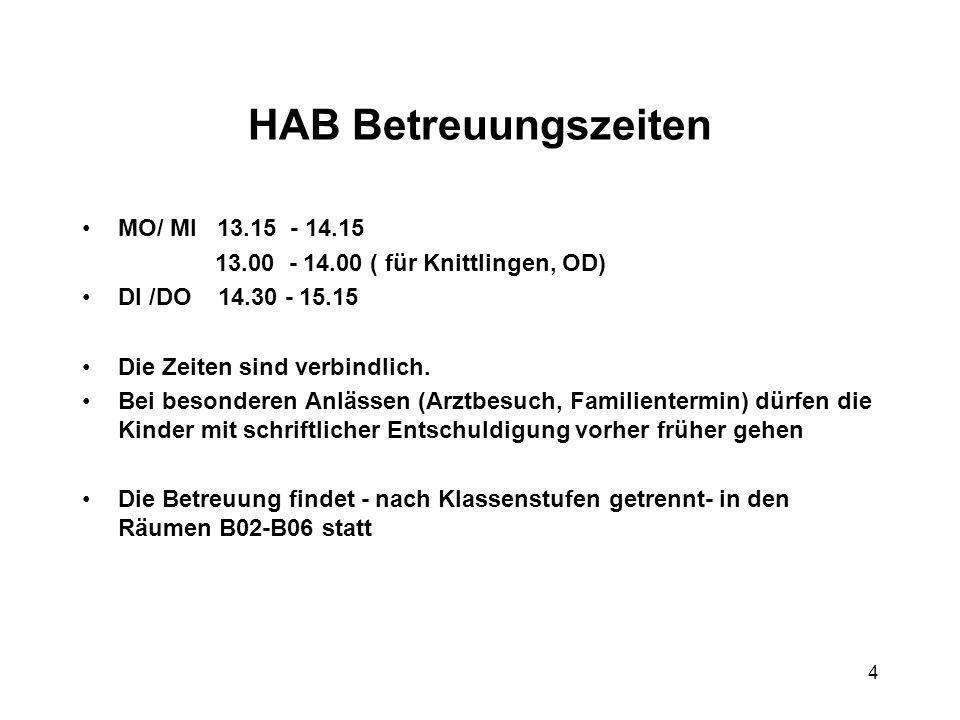 4 HAB Betreuungszeiten MO/ MI 13.15 - 14.15 13.00 - 14.00 ( für Knittlingen, OD) DI /DO 14.30 - 15.15 Die Zeiten sind verbindlich. Bei besonderen Anlä