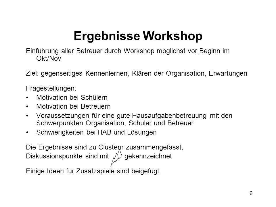 6 Ergebnisse Workshop Einführung aller Betreuer durch Workshop möglichst vor Beginn im Okt/Nov Ziel: gegenseitiges Kennenlernen, Klären der Organisati