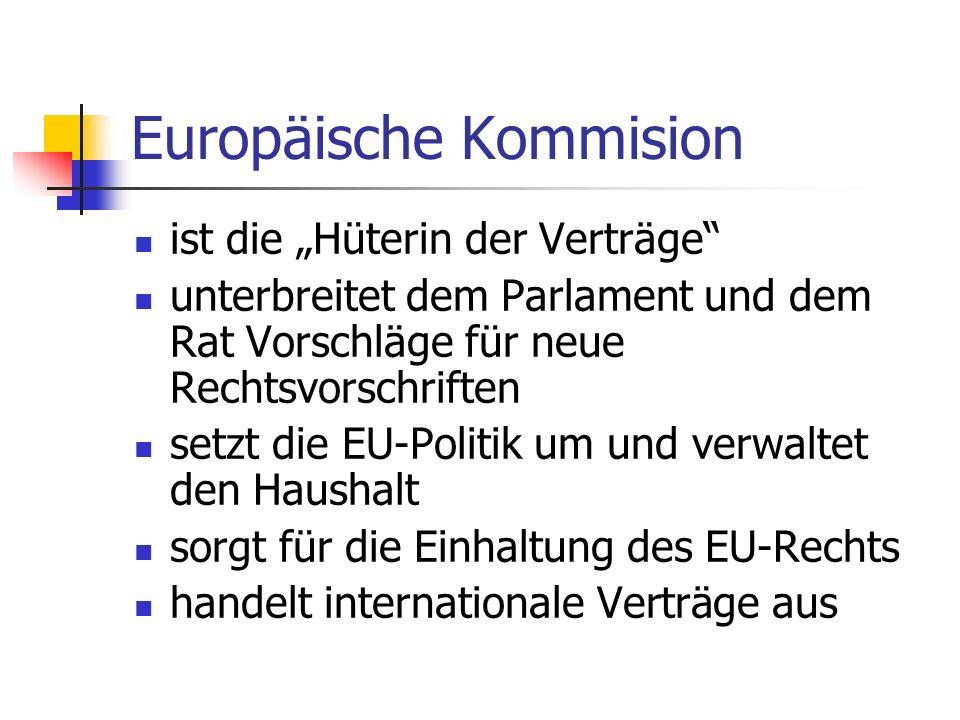 Europäische Kommision ist die Hüterin der Verträge unterbreitet dem Parlament und dem Rat Vorschläge für neue Rechtsvorschriften setzt die EU-Politik