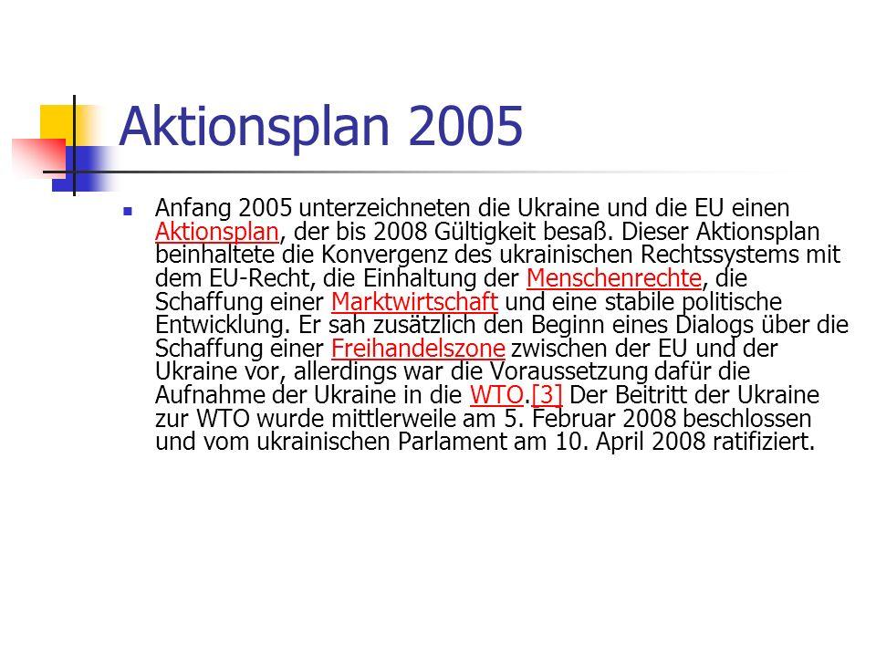 Aktionsplan 2005 Anfang 2005 unterzeichneten die Ukraine und die EU einen Aktionsplan, der bis 2008 Gültigkeit besaß. Dieser Aktionsplan beinhaltete d