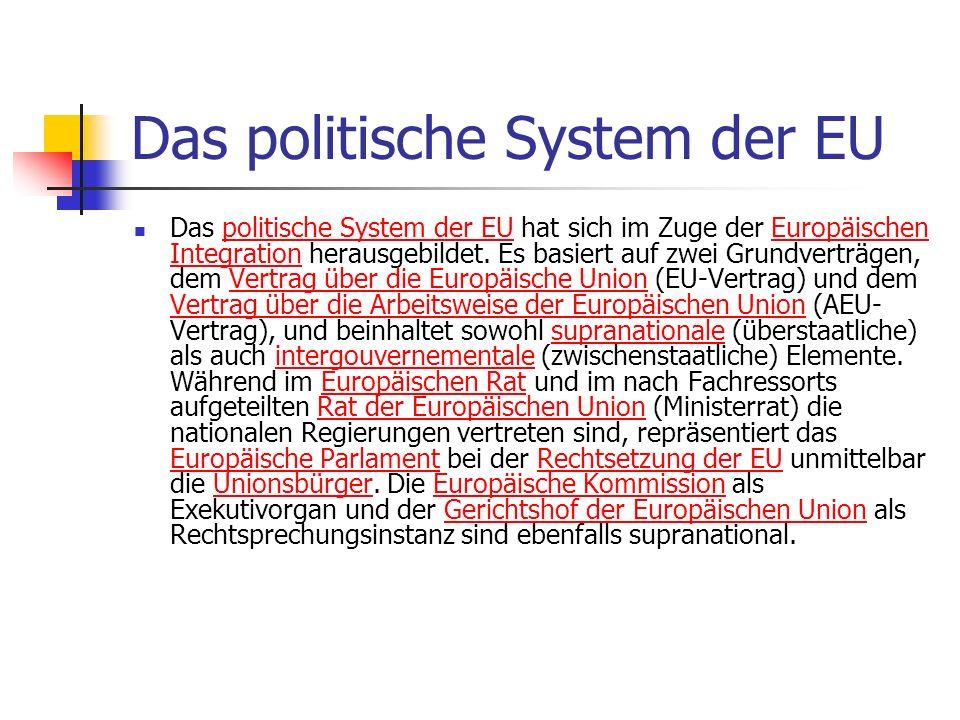 Das politische System der EU Das politische System der EU hat sich im Zuge der Europäischen Integration herausgebildet. Es basiert auf zwei Grundvertr
