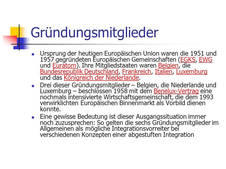 Gründungsmitglieder Ursprung der heutigen Europäischen Union waren die 1951 und 1957 gegründeten Europäischen Gemeinschaften (EGKS, EWG und Euratom).