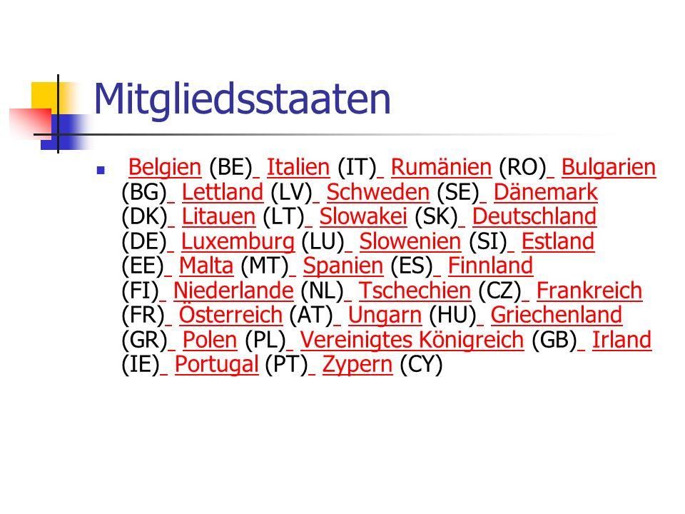 Mitgliedsstaaten Belgien (BE) Italien (IT) Rumänien (RO) Bulgarien (BG) Lettland (LV) Schweden (SE) Dänemark (DK) Litauen (LT) Slowakei (SK) Deutschla