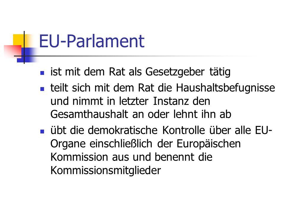 EU-Parlament ist mit dem Rat als Gesetzgeber tätig teilt sich mit dem Rat die Haushaltsbefugnisse und nimmt in letzter Instanz den Gesamthaushalt an o