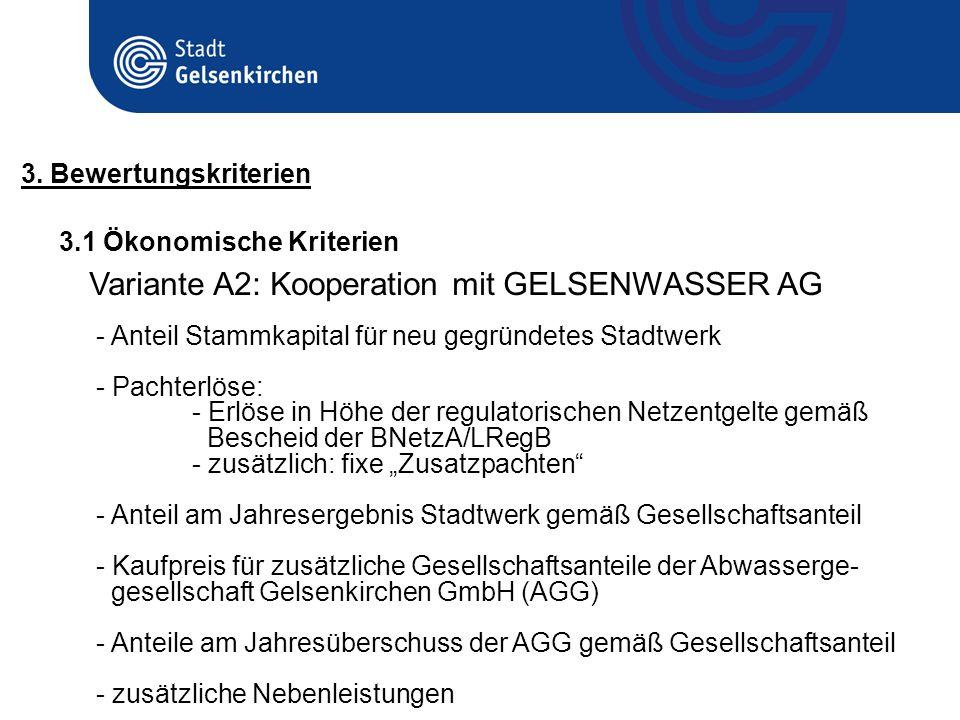 3.1 Ökonomische Kriterien 3. Bewertungskriterien Variante A2: Kooperation mit GELSENWASSER AG - Anteil Stammkapital für neu gegründetes Stadtwerk - Pa