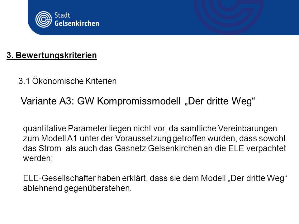 3.1 Ökonomische Kriterien 3. Bewertungskriterien Variante A3: GW Kompromissmodell Der dritte Weg quantitative Parameter liegen nicht vor, da sämtliche