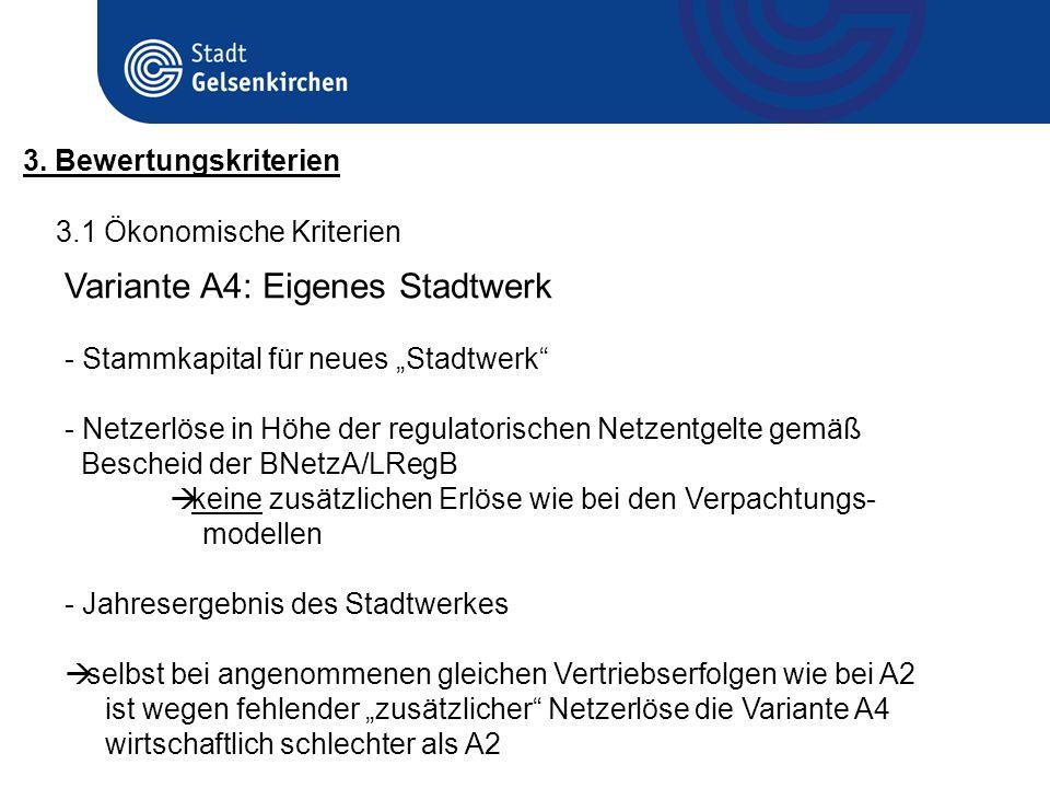 3.1 Ökonomische Kriterien 3. Bewertungskriterien Variante A4: Eigenes Stadtwerk - Stammkapital für neues Stadtwerk - Netzerlöse in Höhe der regulatori