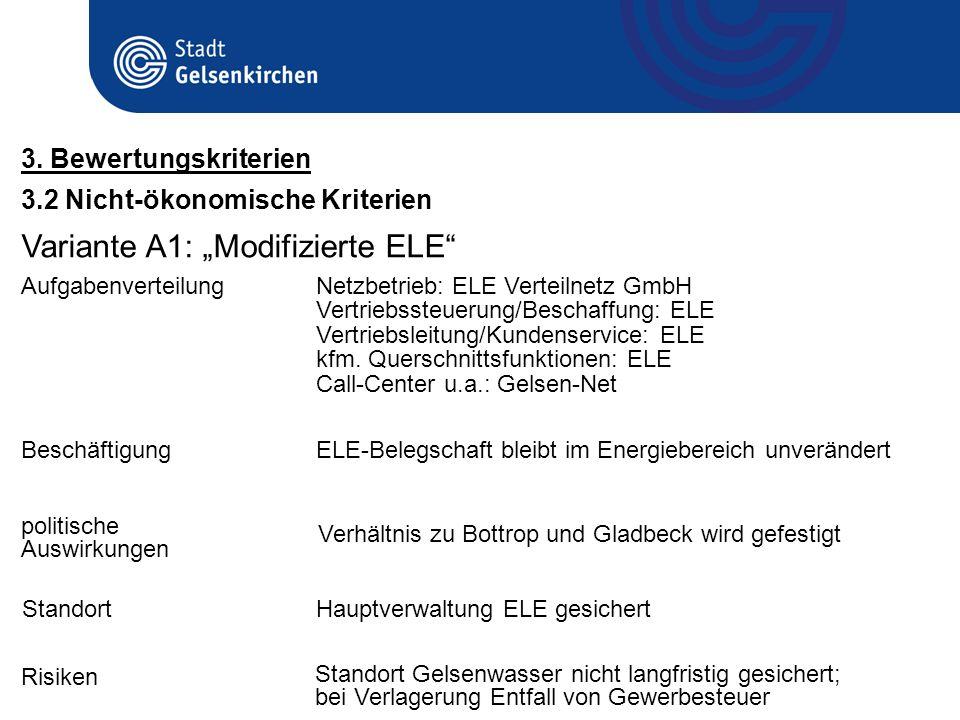 3.2 Nicht-ökonomische Kriterien 3. Bewertungskriterien Variante A1: Modifizierte ELE BeschäftigungELE-Belegschaft bleibt im Energiebereich unverändert