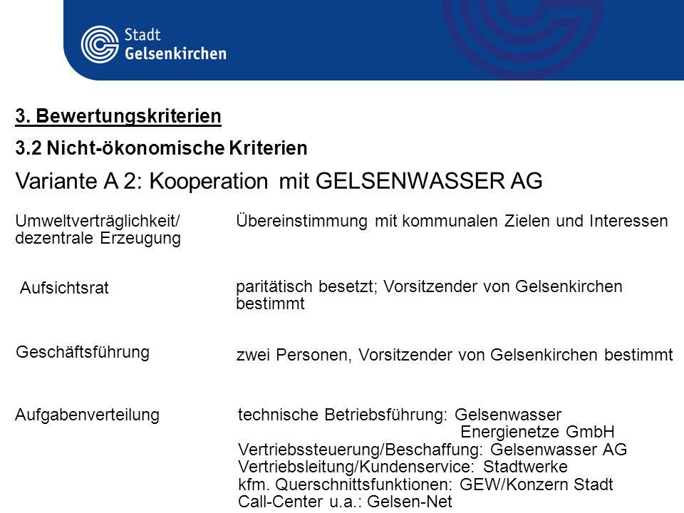 3.2 Nicht-ökonomische Kriterien 3. Bewertungskriterien Variante A 2: Kooperation mit GELSENWASSER AG Umweltverträglichkeit/ dezentrale Erzeugung Übere