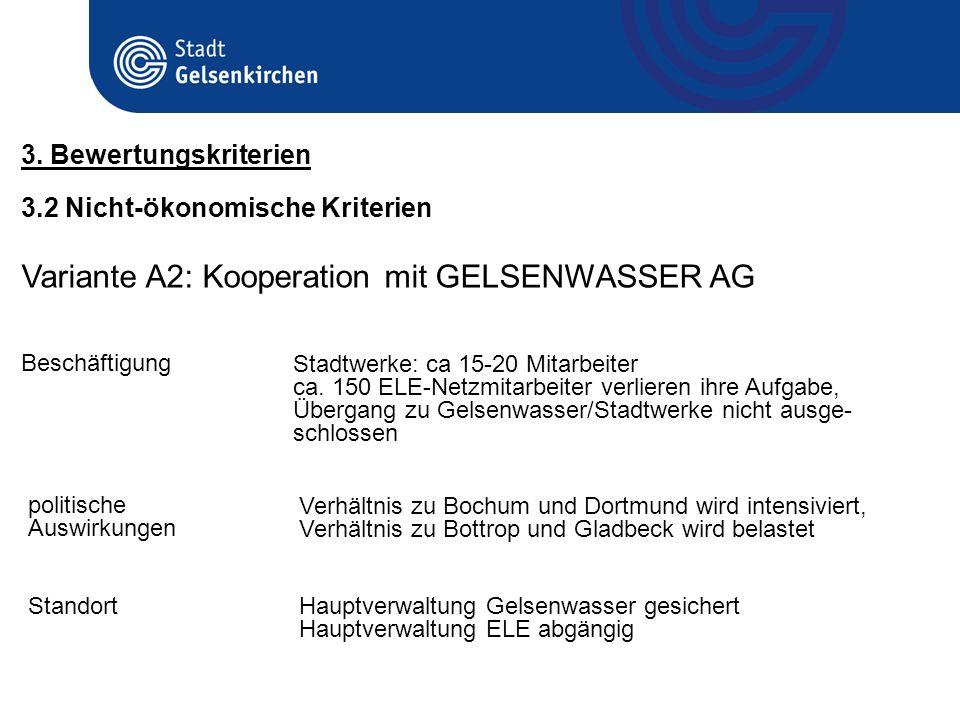 3.2 Nicht-ökonomische Kriterien 3. Bewertungskriterien Variante A2: Kooperation mit GELSENWASSER AG Beschäftigung Stadtwerke: ca 15-20 Mitarbeiter ca.