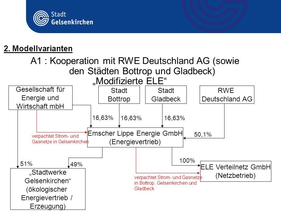 A1 : Kooperation mit RWE Deutschland AG (sowie den Städten Bottrop und Gladbeck) Modifizierte ELE Emscher Lippe Energie GmbH (Energievertrieb) ELE Ver