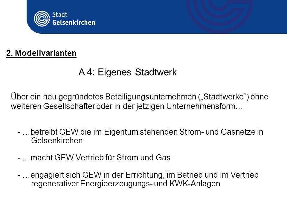 A 4: Eigenes Stadtwerk 2. Modellvarianten - …betreibt GEW die im Eigentum stehenden Strom- und Gasnetze in Gelsenkirchen - …macht GEW Vertrieb für Str