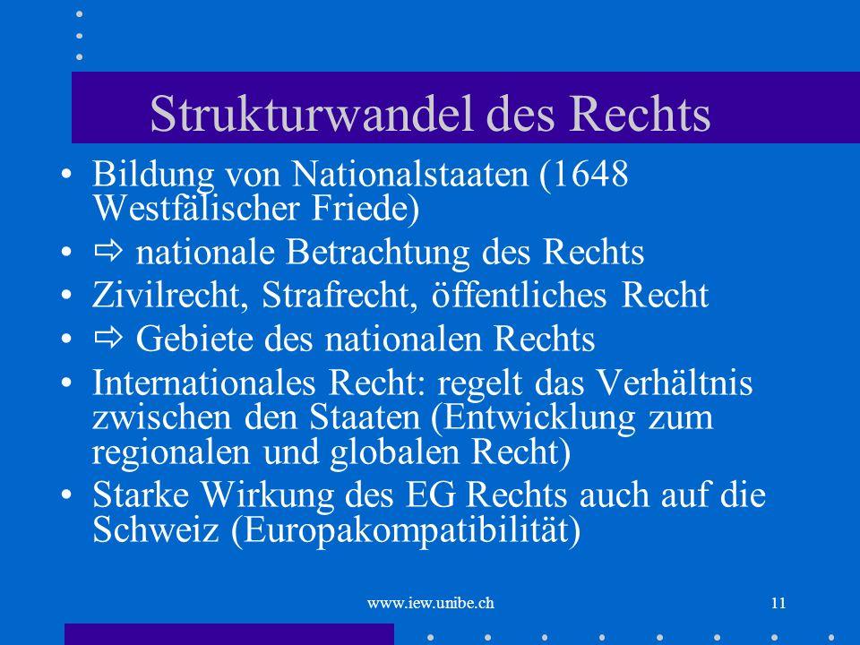 www.iew.unibe.ch11 Strukturwandel des Rechts Bildung von Nationalstaaten (1648 Westfälischer Friede) nationale Betrachtung des Rechts Zivilrecht, Stra