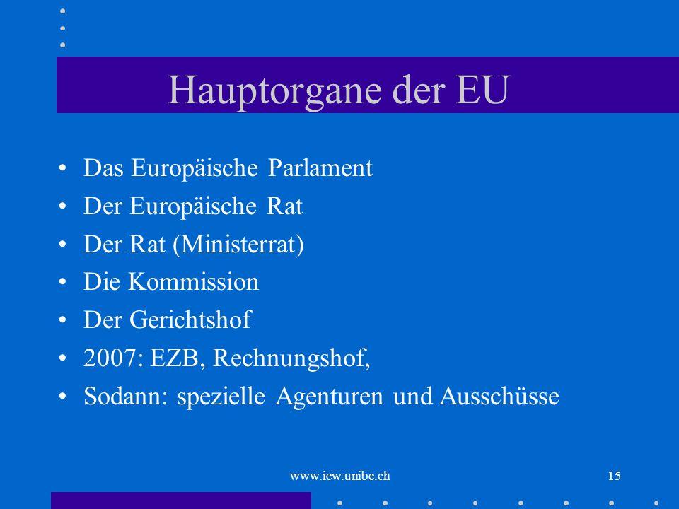 www.iew.unibe.ch15 Hauptorgane der EU Das Europäische Parlament Der Europäische Rat Der Rat (Ministerrat) Die Kommission Der Gerichtshof 2007: EZB, Re