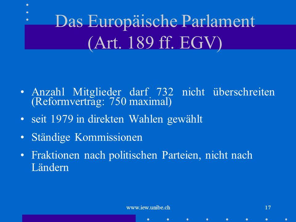 www.iew.unibe.ch17 Das Europäische Parlament (Art. 189 ff. EGV) Anzahl Mitglieder darf 732 nicht überschreiten (Reformvertrag: 750 maximal) seit 1979