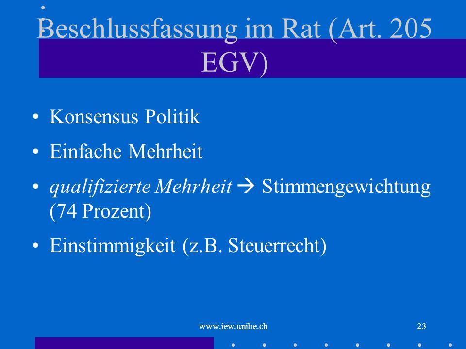 www.iew.unibe.ch23 Beschlussfassung im Rat (Art. 205 EGV) Konsensus Politik Einfache Mehrheit qualifizierte Mehrheit Stimmengewichtung (74 Prozent) Ei