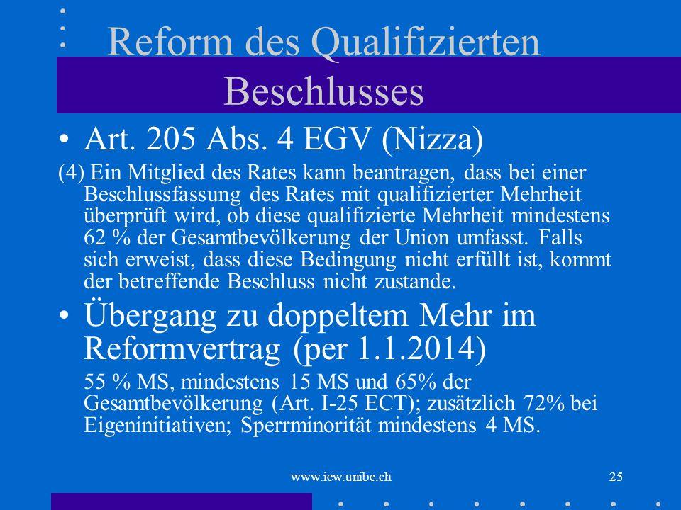 www.iew.unibe.ch25 Reform des Qualifizierten Beschlusses Art. 205 Abs. 4 EGV (Nizza) (4) Ein Mitglied des Rates kann beantragen, dass bei einer Beschl