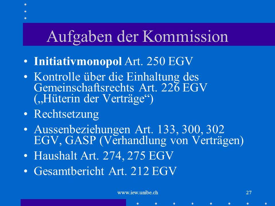 www.iew.unibe.ch27 Aufgaben der Kommission Initiativmonopol Art. 250 EGV Kontrolle über die Einhaltung des Gemeinschaftsrechts Art. 226 EGV (Hüterin d