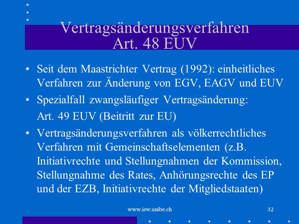 www.iew.unibe.ch32 Vertragsänderungsverfahren Art. 48 EUV Seit dem Maastrichter Vertrag (1992): einheitliches Verfahren zur Änderung von EGV, EAGV und