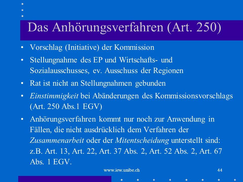 www.iew.unibe.ch44 Das Anhörungsverfahren (Art. 250) Vorschlag (Initiative) der Kommission Stellungnahme des EP und Wirtschafts- und Sozialausschusses