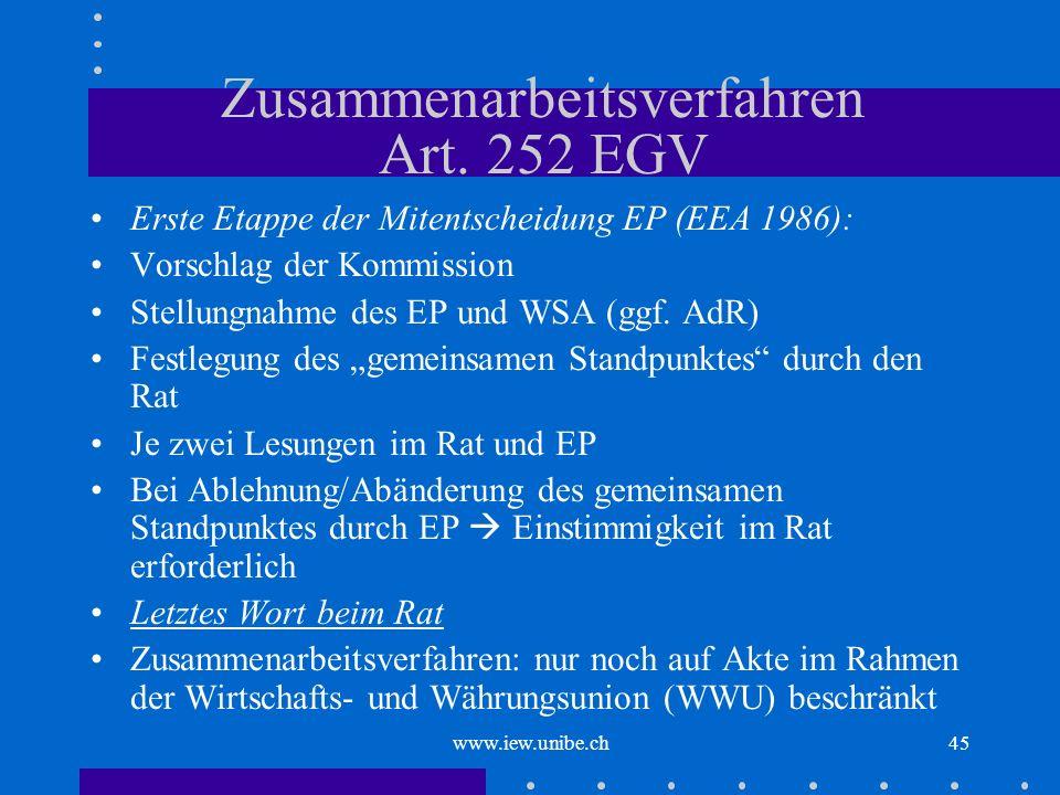 www.iew.unibe.ch45 Zusammenarbeitsverfahren Art. 252 EGV Erste Etappe der Mitentscheidung EP (EEA 1986): Vorschlag der Kommission Stellungnahme des EP