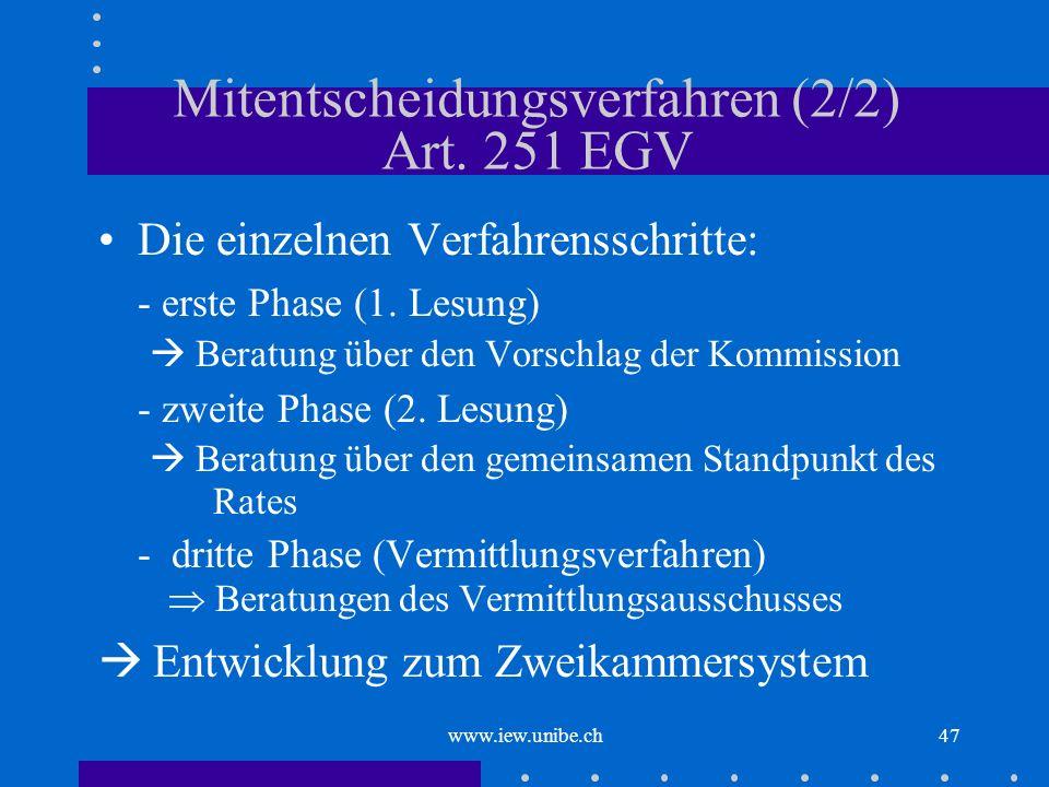 www.iew.unibe.ch47 Mitentscheidungsverfahren (2/2) Art. 251 EGV Die einzelnen Verfahrensschritte: - erste Phase (1. Lesung) Beratung über den Vorschla