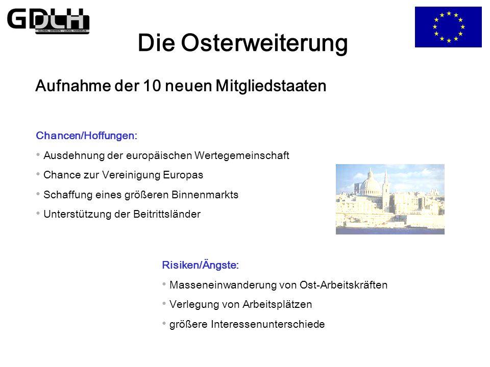 Die Osterweiterung Bedingungen für den Beitritt in die EU: Bekenntnis zu den Grundsätzen der Freiheit und der Demokratie Achtung der Menschenrechte, G