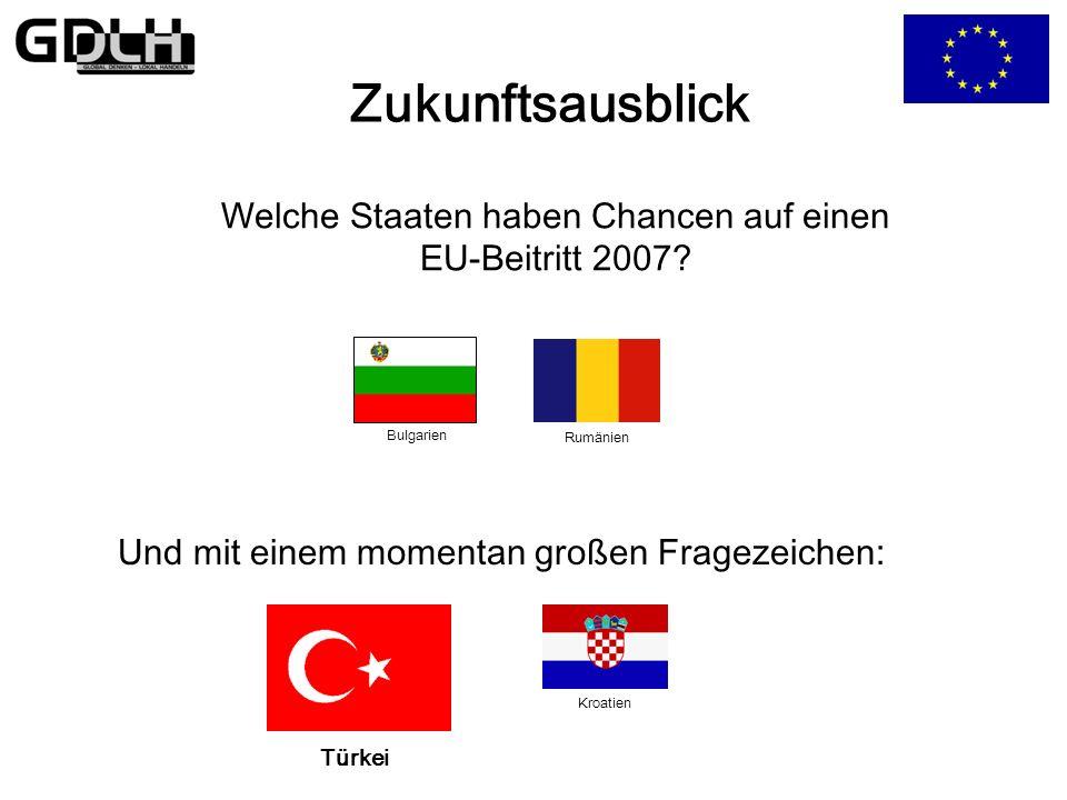 Die Osterweiterung Aufnahme der 10 neuen Mitgliedstaaten Chancen/Hoffungen: Ausdehnung der europäischen Wertegemeinschaft Chance zur Vereinigung Europ
