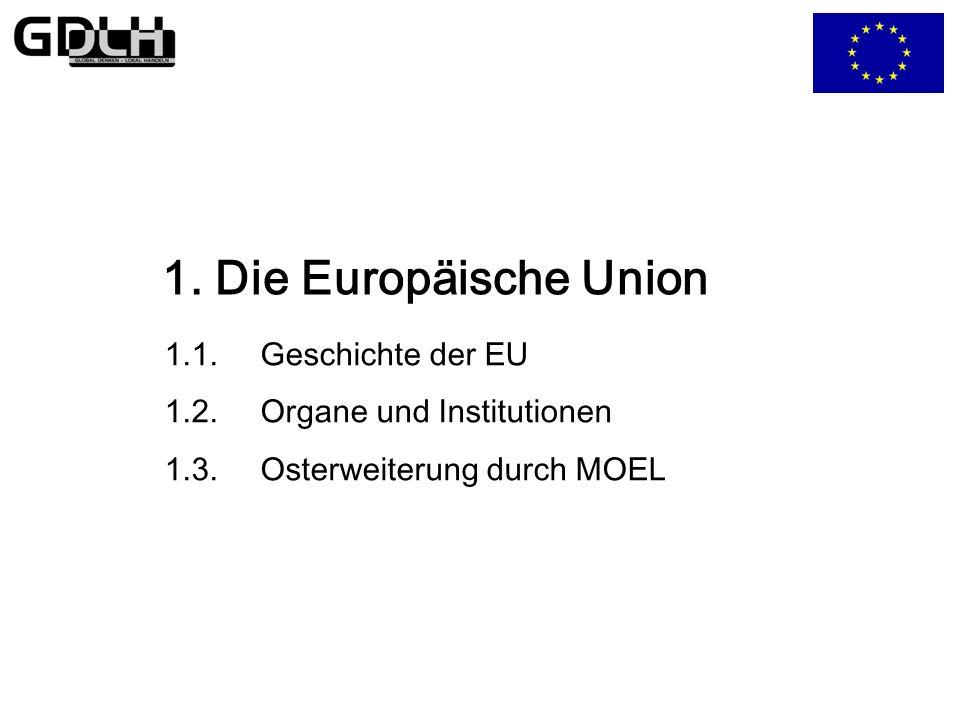 Die Osterweiterung Aufnahme der 10 neuen Mitgliedstaaten Chancen/Hoffungen: Ausdehnung der europäischen Wertegemeinschaft Chance zur Vereinigung Europas Schaffung eines größeren Binnenmarkts Unterstützung der Beitrittsländer Risiken/Ängste: Masseneinwanderung von Ost-Arbeitskräften Verlegung von Arbeitsplätzen größere Interessenunterschiede