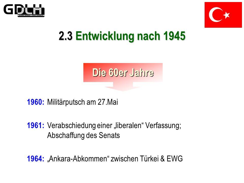 1952: Aufnahme in die NATO Späte 1950er: Starke Zunahme sozialer und wirtschaftlicher Spannungen im Zuge der Industrialisierung 2.3 Entwicklung nach 1