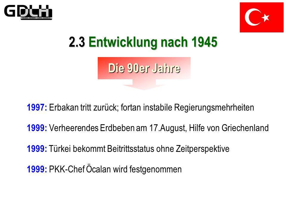 2.3 Entwicklung nach 1945 Die 90er Jahre 1991: Öffentlicher Gebrauch der kurdischen Sprache wird erlaubt 1993: PKK propagiert nicht mehr unabhängiges