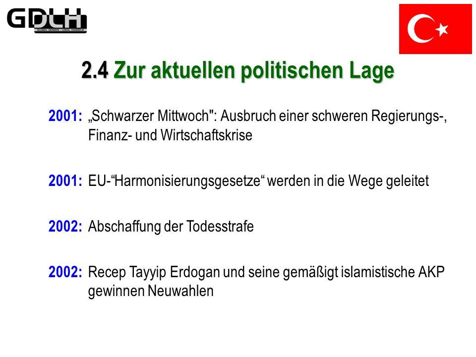 2.3 Entwicklung nach 1945 Die 90er Jahre 1997: Erbakan tritt zurück; fortan instabile Regierungsmehrheiten 1999: Verheerendes Erdbeben am 17.August, H