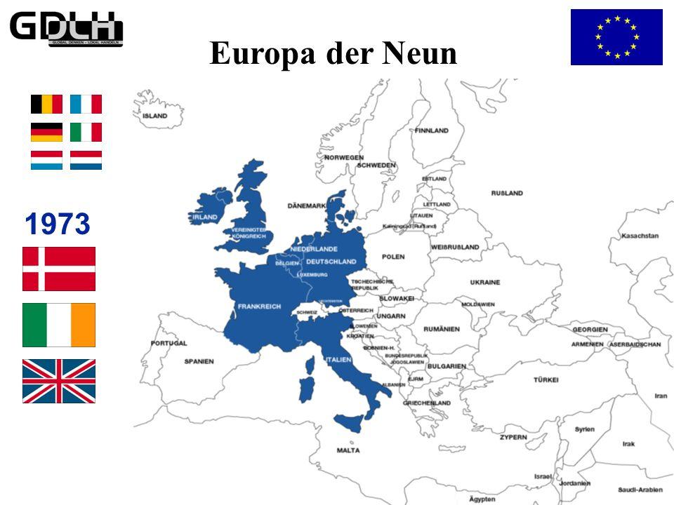 Etappen der Europäischen Einigung 1959 Beginn des Zollabbaus 1972 Zusammenarbeit in der Außenpolitik 1958 Vertrag von Rom EWG + Euratom 1952 Montanuni