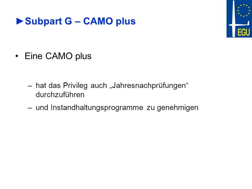 Subpart G – CAMO plusSubpart G – CAMO plus Eine CAMO plus –hat das Privileg auch Jahresnachprüfungen durchzuführen –und Instandhaltungsprogramme zu ge