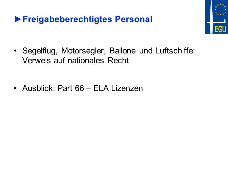 Freigabeberechtigtes PersonalFreigabeberechtigtes Personal Segelflug, Motorsegler, Ballone und Luftschiffe: Verweis auf nationales Recht Ausblick: Par