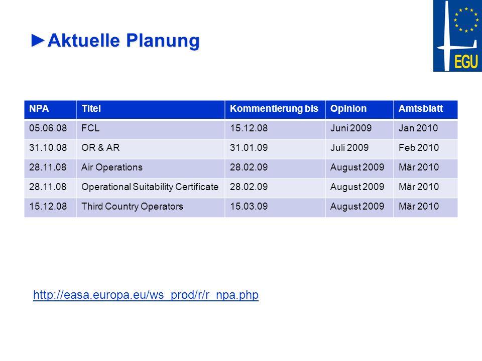 Aktuelle PlanungAktuelle Planung NPATitelKommentierung bisOpinionAmtsblatt 05.06.08FCL15.12.08Juni 2009Jan 2010 31.10.08OR & AR31.01.09Juli 2009Feb 20