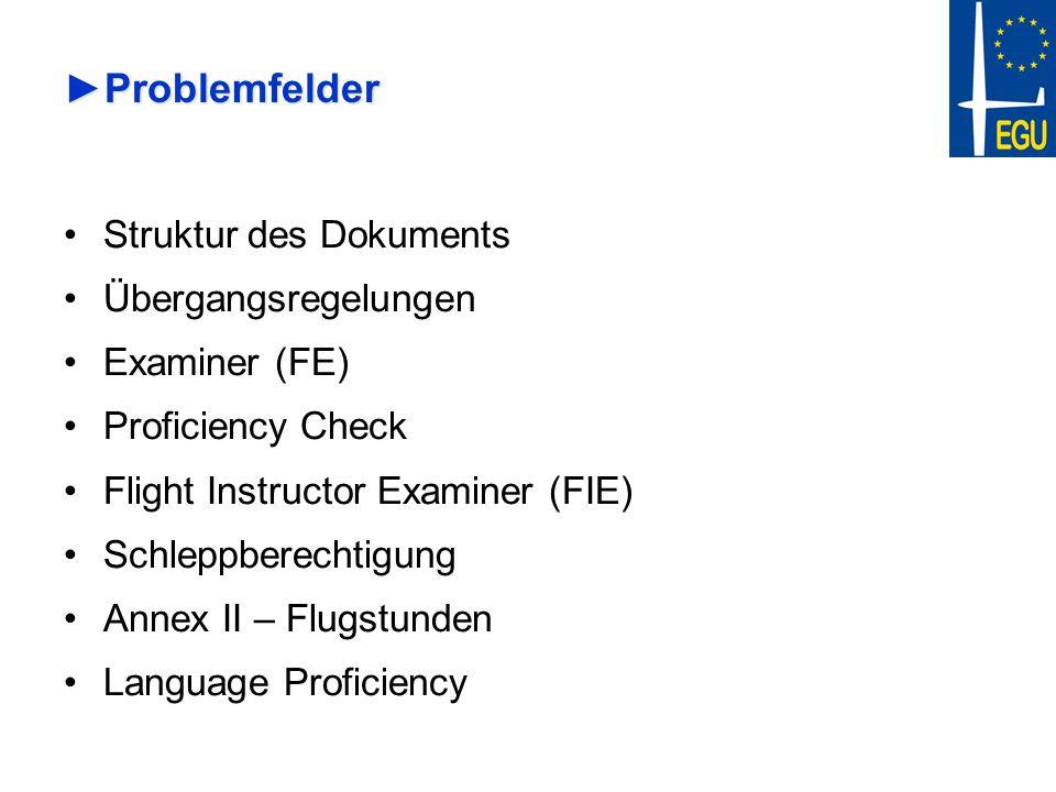 ProblemfelderProblemfelder Struktur des Dokuments Übergangsregelungen Examiner (FE) Proficiency Check Flight Instructor Examiner (FIE) Schleppberechti