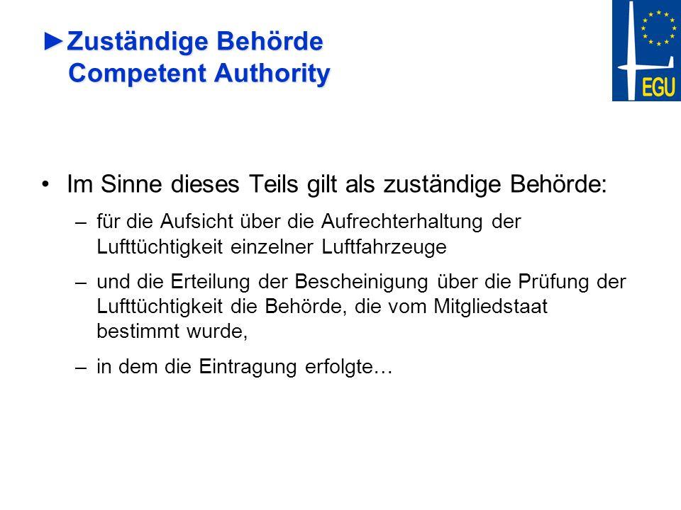Zuständige Behörde Competent AuthorityZuständige Behörde Competent Authority Im Sinne dieses Teils gilt als zuständige Behörde: –für die Aufsicht über