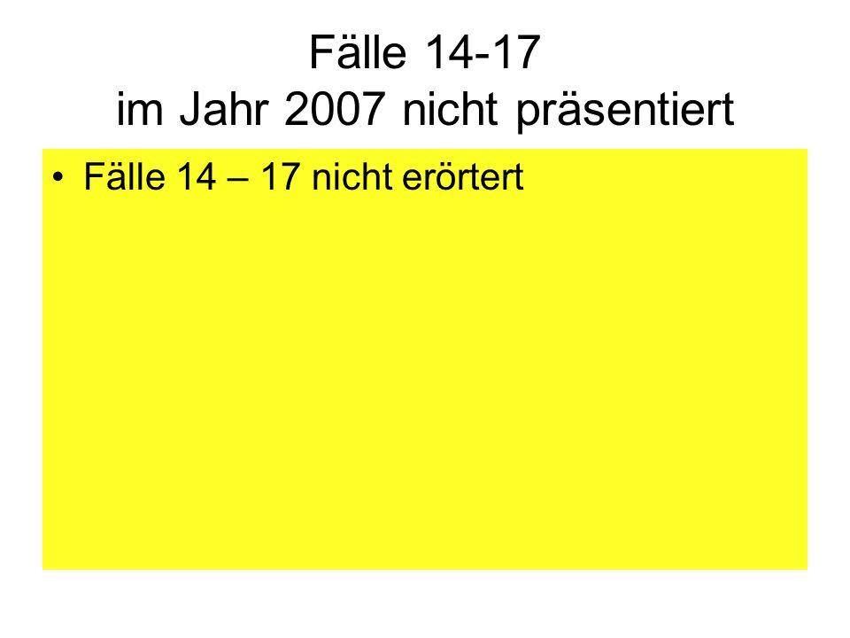 Fälle 14-17 im Jahr 2007 nicht präsentiert Fälle 14 – 17 nicht erörtert
