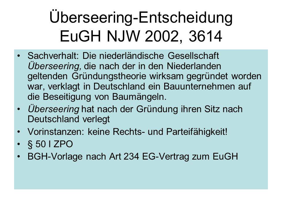 Überseering-Entscheidung EuGH NJW 2002, 3614 Sachverhalt: Die niederländische Gesellschaft Überseering, die nach der in den Niederlanden geltenden Grü