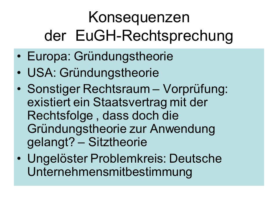 Konsequenzen der EuGH-Rechtsprechung Europa: Gründungstheorie USA: Gründungstheorie Sonstiger Rechtsraum – Vorprüfung: existiert ein Staatsvertrag mit