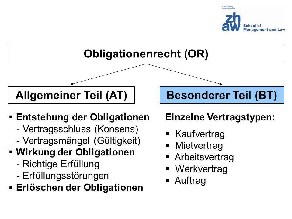 Obligationenrecht (OR) Allgemeiner Teil (AT)Besonderer Teil (BT) Entstehung der Obligationen - Vertragsschluss (Konsens) - Vertragsmängel (Gültigkeit)