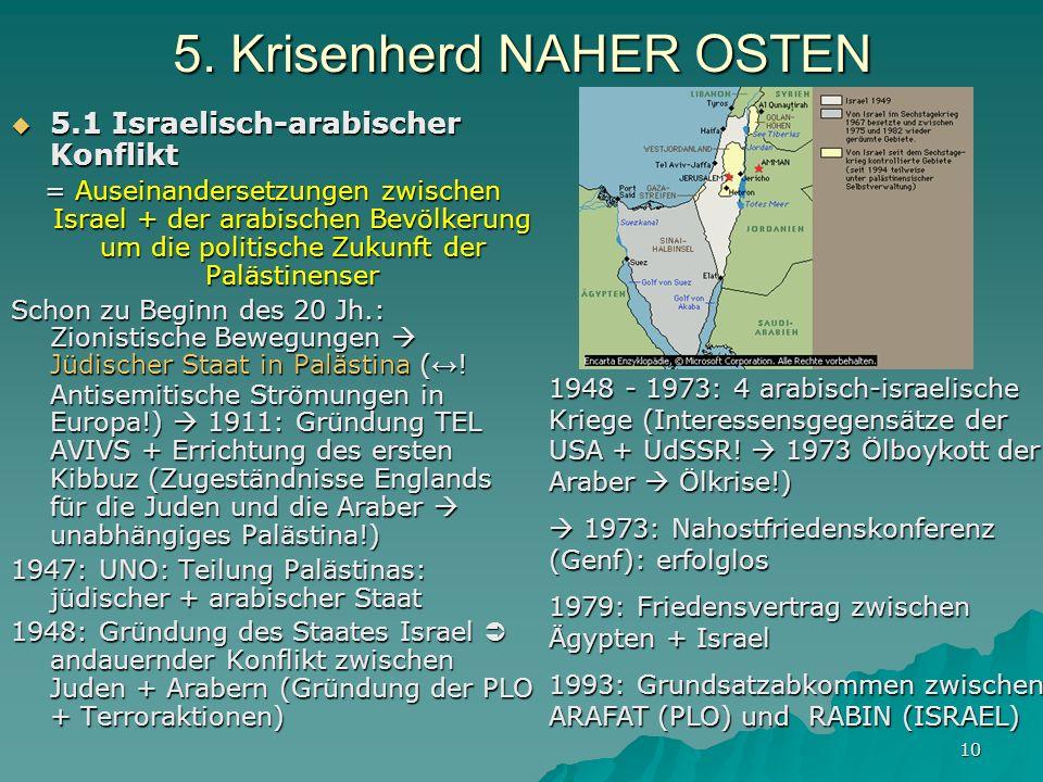 10 5. Krisenherd NAHER OSTEN 5.1 Israelisch-arabischer Konflikt 5.1 Israelisch-arabischer Konflikt = Auseinandersetzungen zwischen Israel + der arabis
