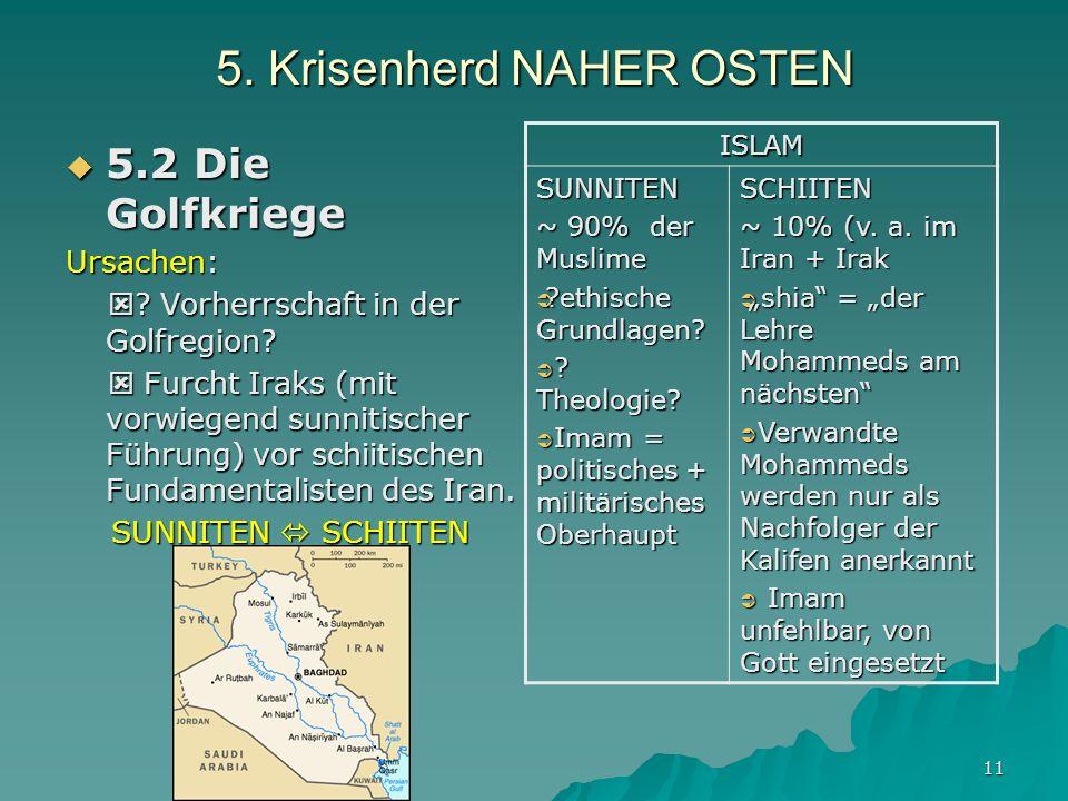 11 5.Krisenherd NAHER OSTEN 5.2 Die Golfkriege 5.2 Die Golfkriege Ursachen: .