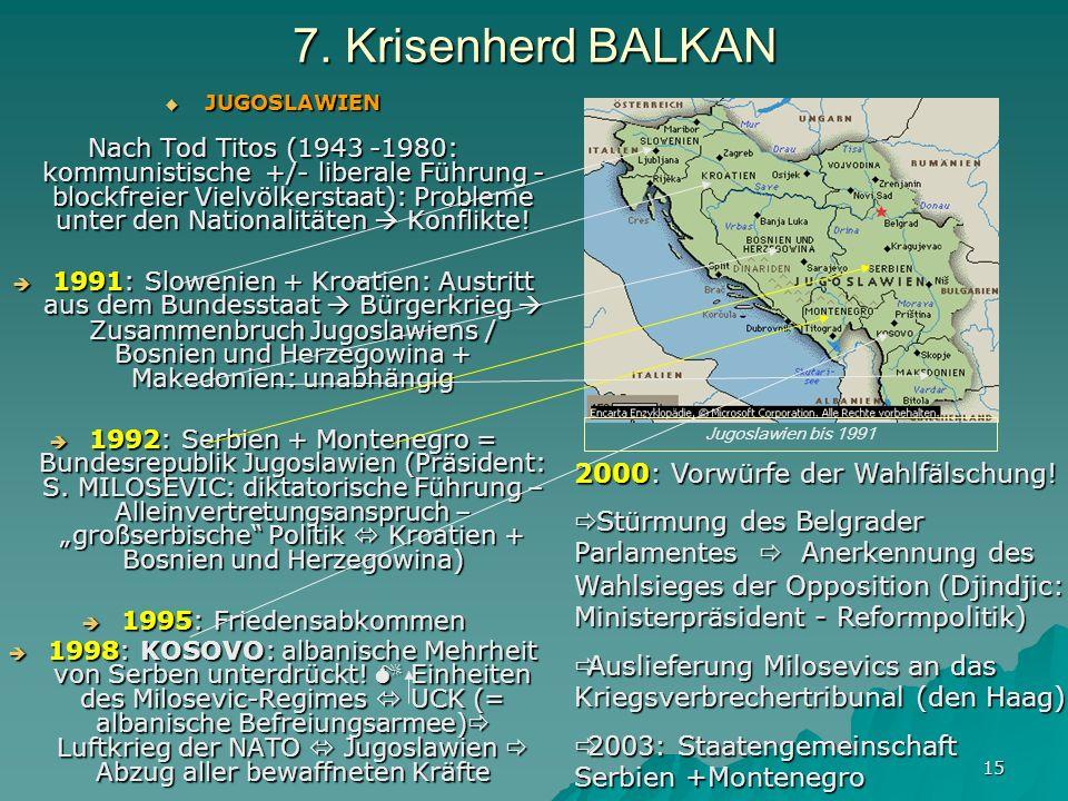 15 7. Krisenherd BALKAN JUGOSLAWIEN JUGOSLAWIEN Nach Tod Titos (1943 -1980: kommunistische +/- liberale Führung - blockfreier Vielvölkerstaat): Proble
