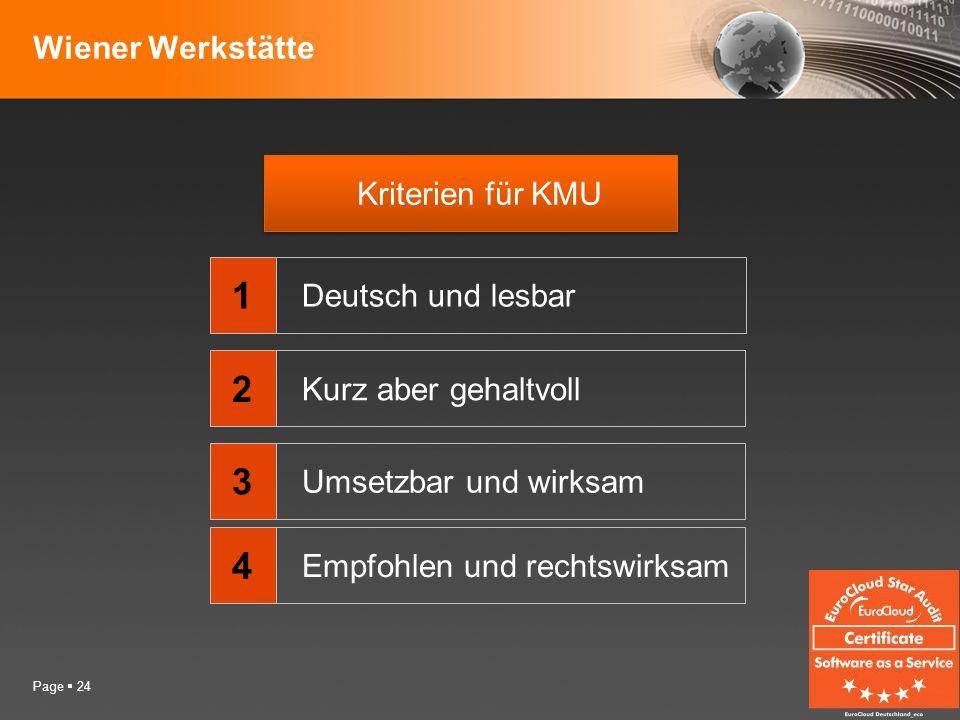 Page 24 Wiener Werkstätte Deutsch und lesbar 1 Kurz aber gehaltvoll 2 Umsetzbar und wirksam 3 Kriterien für KMU Empfohlen und rechtswirksam 4