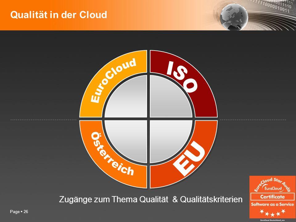 Page 26 Qualität in der Cloud Zugänge zum Thema Qualität & Qualitätskriterien
