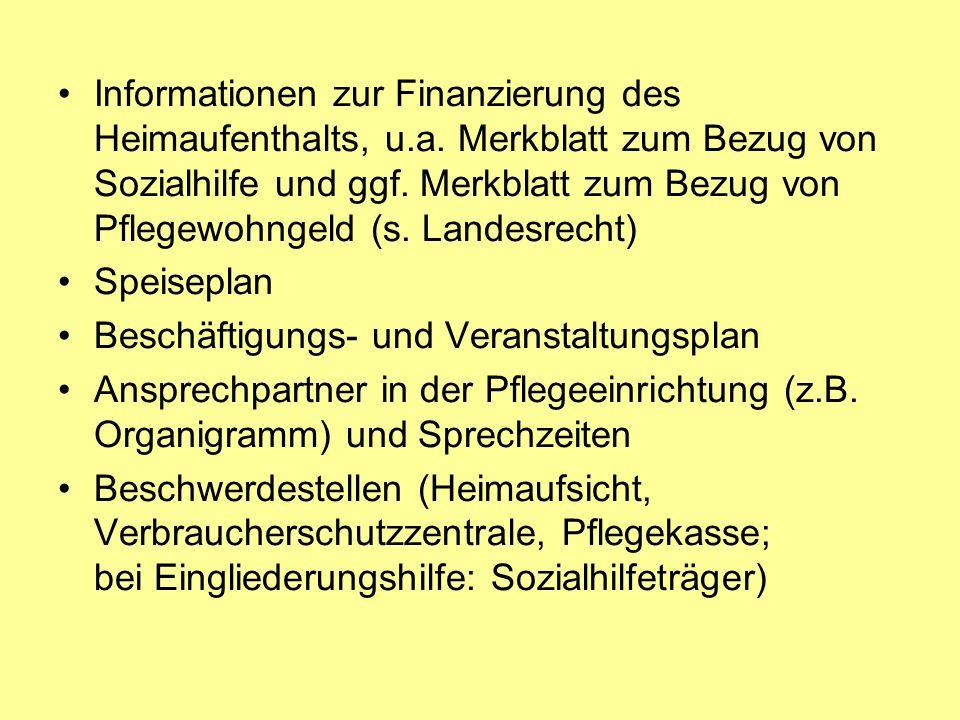 Informationen zur Finanzierung des Heimaufenthalts, u.a.